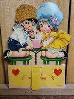 "7"" Vintage 1930s Soda Shop Die Cut Valentines Card Boy & Girl Mechanical Germany"