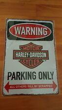 Harley Davidson Parking Only Metal Sign Plaque Man Cave Garage Retro Motorcycle