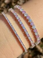 Tennis Bracelet SOLID 925 Sterling Silver Single Row Diamond & Pink Sapphire
