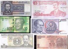 LOTTO 6 BANCONOTE MONDIALI, tag,monete, billetes,bankonote.SADDAM,cuba,che