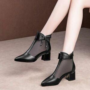 Sandalen Stiefel für Damen High Heels Netz Schuhe Rücken Zipper Fliege Spitz Neu