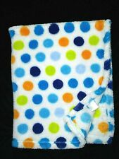 New ListingBaby Gear White Polka Dot Fleece Blanket Lovey Blue Green Orange 30x36 Soft Euc