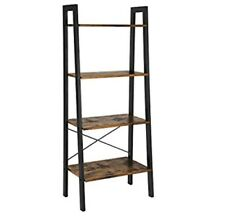 VASAGLE Industrial Ladder Shelf, 4-Tier Bookshelf, Storage Rack Shelves, Bath...