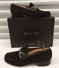 $550 GUCCI Shoes Brown Suede Leather Gold Horsebit Loafers Mens Sz 42.5 / 9 us