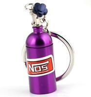 Purple Nos Bottle Turbo Key Chain Nitrous Oxide Bottle Keyring Stash Storage Pil