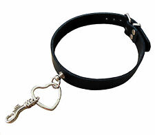 Terginum BDSM Cuir veritable Collier M. coeur anneau à la main Collar Noir NEUF