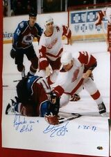 DARREN McCARTY SIGNED 16X20 LEMIEUX FIGHT PHOTO DETROIT RED WINGS PAYBACKS AASH