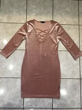 Velvet Dress Short Fitted Party Dress 3/4 Sleeves Blush Size L ***NWT***