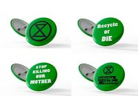Extinction Rebellion - 4 Badges - Climate change Activist,Recycle - 25mm Pin