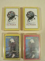 Alaska playing cards. 4 deck lot 2 Eskimo symbol Killer Whale and 2 Bald Eagle