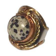 Welded Mixed Metal Cuff Ring, DALMATIAN JASPER Semiprecious Stone, by Anju