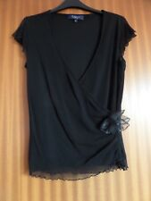 Ladies Black Top.Crossover front.Sparkly Brooch Size 16.Split Cap Sleeves.Party