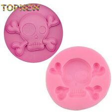 Halloween Silicone Skull & Crossbones Mold for Fondant, Candy - Ships from USA