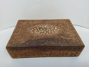 Vintage Hand Carved Wood Box -Hinged Lid with Design & Felt Lined Inside