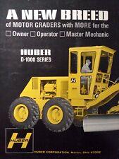 Huber Motor Road Grader D 1000 Series D 1400 Construction Color Sales Brochure