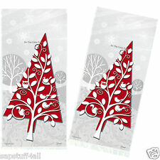 20 FROSTED HOLIDAY Christmas Party Cello Cellophane Treat Gift Bags & twist ties