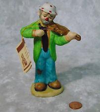 "NEW Emmet Kelly Clown Violin Viola String Instrument 5.5"" Porcelain Figurine NWT"