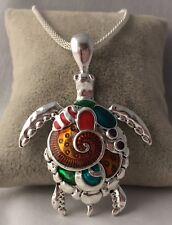 Silver Plated MulticolorTurtle Pendant on Chain