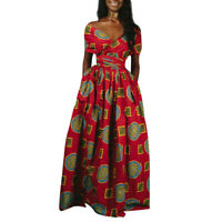 African Dashiki Women Maxi Dress Convertible Multi Way Evening Party Long Dress