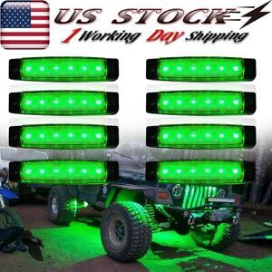 8X Green LED Rock Lights For Offroad Jeep Truck Boat ATV UTV Underbody Light Kit