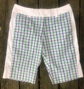 Adidas Shorts Women sz 6 stretch Golf Tennis Bermuda White green blue plaid 2008