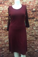 2a61c968717f Nine West Burgundy Lace-Sleeve Fit and Flare Sweater Dress Size S