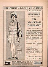 ▬► Patron Couture Supplément Écho de la Mode Manteau Enfant 6 ans N°37 1961