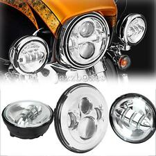 "7"" LED Daymaker Headlight Passing Light For Harley Trike Tri Glide Ultra Classic"