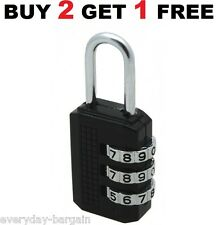 3 DIAL COMBINATION PADLOCK PADLOCKS LOCK RESETTABLE SUITCASE HOLDALL LOCKER