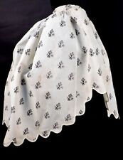 VICTORIAN 1870'S PRINT COTTON OVERSKIRT W SCALLOP EDGE FOR DRESS