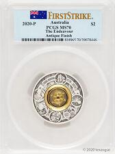 2020 Australia $2 Endeavour Ship's Wheel 2oz .9999 Silver Coin - Pcgs Ms70 Fs