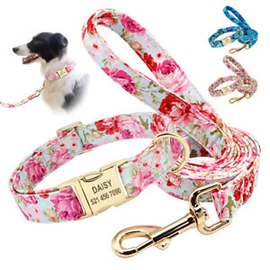 Personalised Floral Small Large Dogs Collar and Leash Engraved Name ID Tag S M L