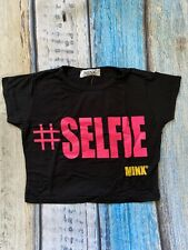 Girls Selfie Crop Top Black or white  Age 7-13