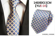 Blue, Gold and Orange Patterned Handmade 100% Silk Tie
