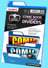 25 ULTIMATE GUARD BLUE COMIC BOOK DIVIDERS Storage Write On Strip Index Tabs