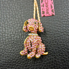 Enamel Crystal Pink Cute Pet Dog Betsey Johnson Pendant Sweater Necklace
