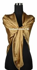 """New Extra Large 42""""x42"""" Luxurious Handmade 100% Silk Scarf Wrap, Camel Solids"""