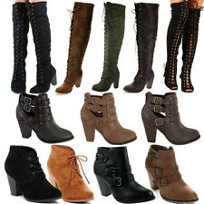 NEW Chunky High Heels Ankle Booties Strappy Woman Distress Boots Over Knee Shoes