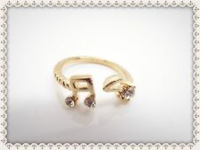 Pretty Music Notes Ring,Adjustable,Gift Idea,Fashion,Band,Costume,Rhinestones