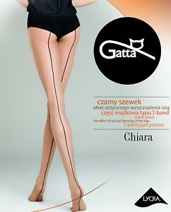 """Sexy Seamed Back Line Patterned Sheer Tights """"Chiara"""" Pantyhose - 20 Den"""