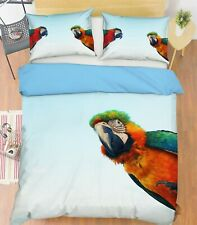 3D Two Parrots S003 Animal Bed Pillowcases Quilt Duvet Cover Set Queen King Su