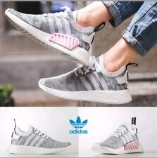 size 40 1a0ed e01c5 Adidas NMD R2 Primeknit PK White Grey Pink Sneakers Trainers Shoes Womens  Size 7