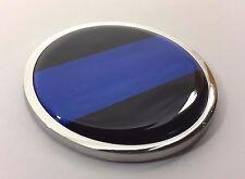 THIN BLUE LINE 3D Domed Emblem Badge Car Sticker METAL Chrome Bezel ROUND 3 3/8'