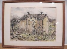 "Ink & Watercolor Chester County PA Barn  Signed Peg Tuppeny  12 5/8"" x 16 5/8"""