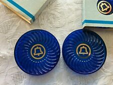 Vintage Bright Blue Bell Telephone Advertising Coasters LOT of 4 in Sleeves USA