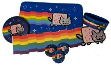 Retro Nyan Cat wallet, pins, sticker, and wrist band