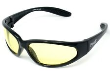 FOG3 Yellow Tinted Motorcycle Sunglasses/Low Light Biker Glasses Inc P&P + Pouch