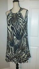 MSK Womens Shift Dress Tan Black White Zebra Print Paillettes Bling Plus Size 14