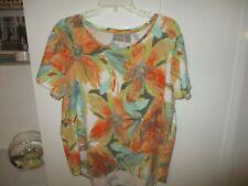 CHICO'S LOVELY MULTICOLOR FLORAL SHORT SLEEVE TOP SIZE 3