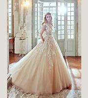 Wedding Dress 2019 Champagne White Ivory Bridal Gown Custom Size 8 10 12 14 16++